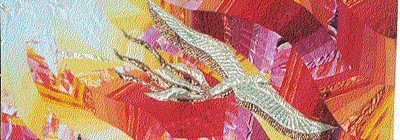 A segment of a pentecost-themed quilt showing a dove, representing the Holy Spirit, against a background of red and yellow flames.