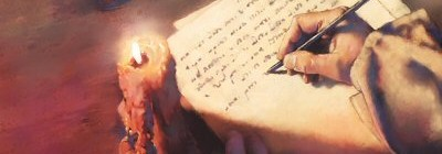 A painting of a hand writing a letter by candlelight.
