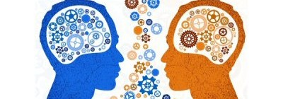 An illustration of two heads facing each other, each filled with cogs to indicate thought, and cogs mingling in the conversation space between them.